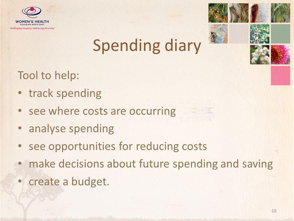Spending diary Tool to help: track spending