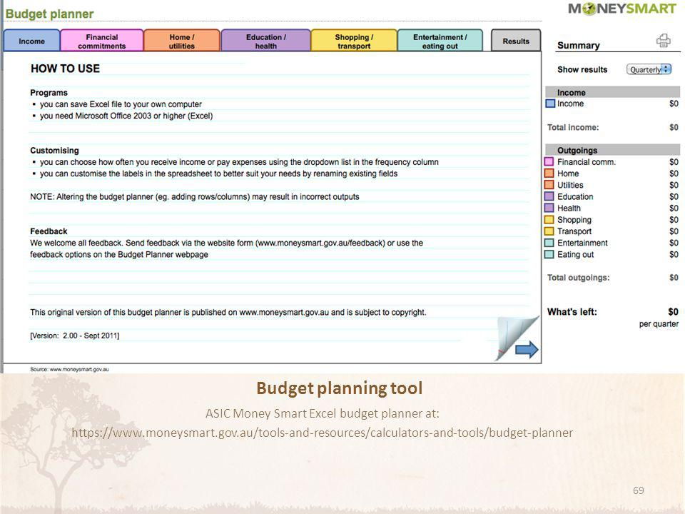 ASIC Money Smart Excel budget planner at: