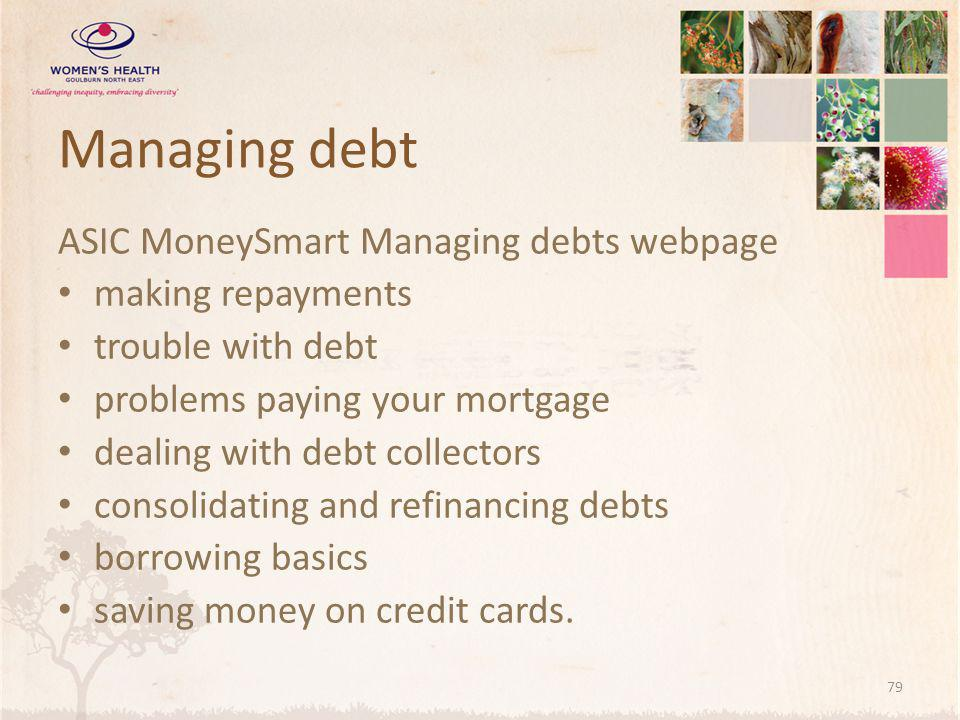 Managing debt ASIC MoneySmart Managing debts webpage making repayments