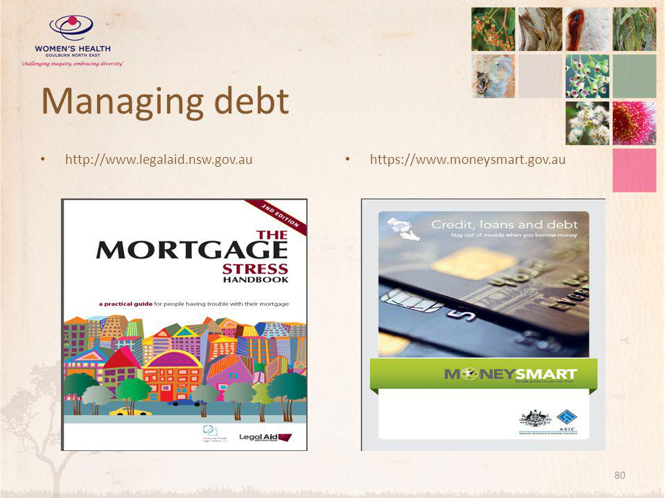 Managing debt http://www.legalaid.nsw.gov.au