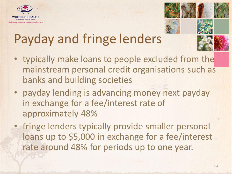 Payday and fringe lenders