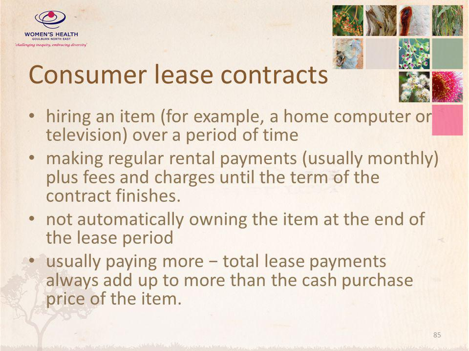 Consumer lease contracts