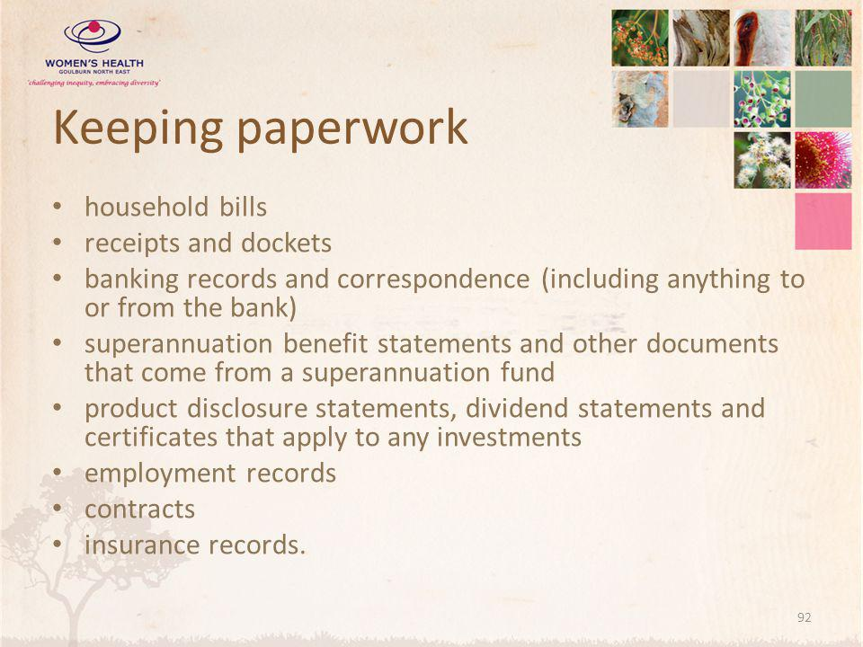 Keeping paperwork household bills receipts and dockets