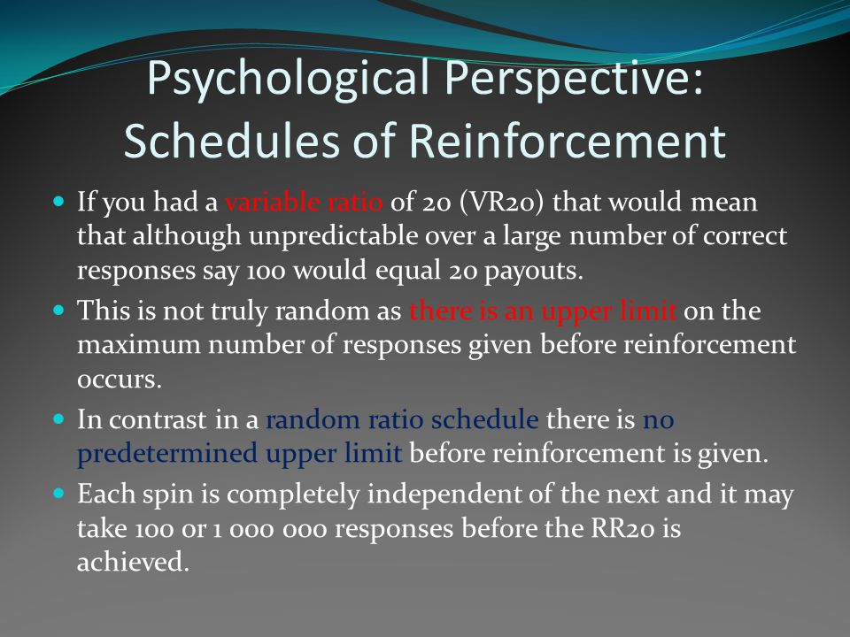 Psychological Perspective: Schedules of Reinforcement