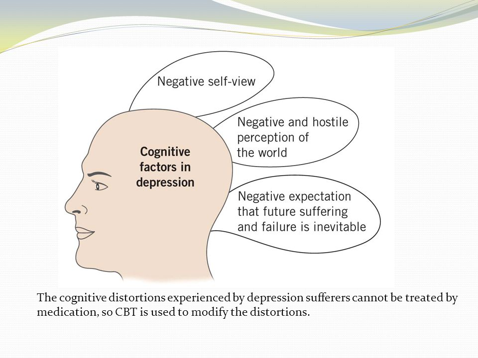 The cognitive distortions experienced by depression sufferers cannot be treated by medication, so CBT is used to modify the distortions.