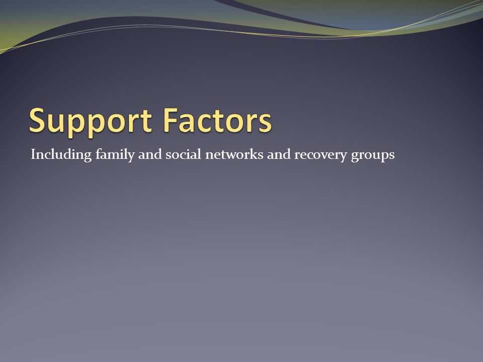 Support Factors Including family and social networks and recovery groups