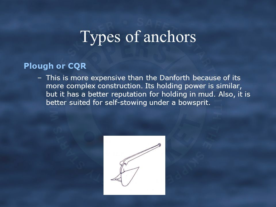 Types of anchors Plough or CQR