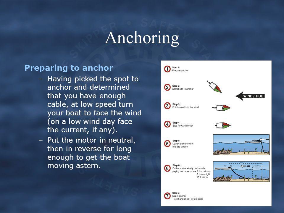 Anchoring Preparing to anchor