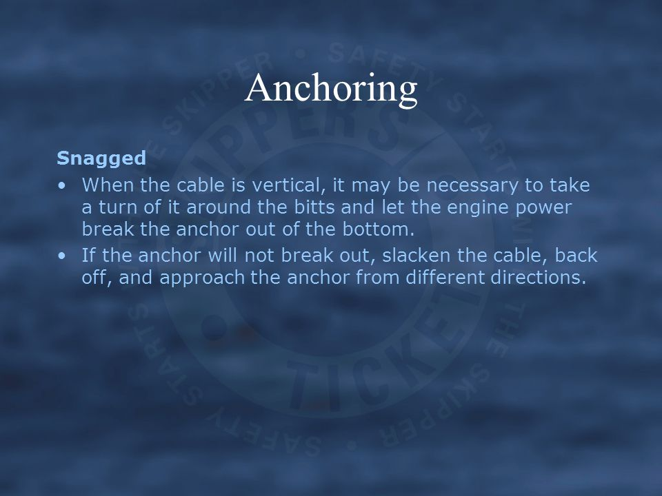 Anchoring Snagged.