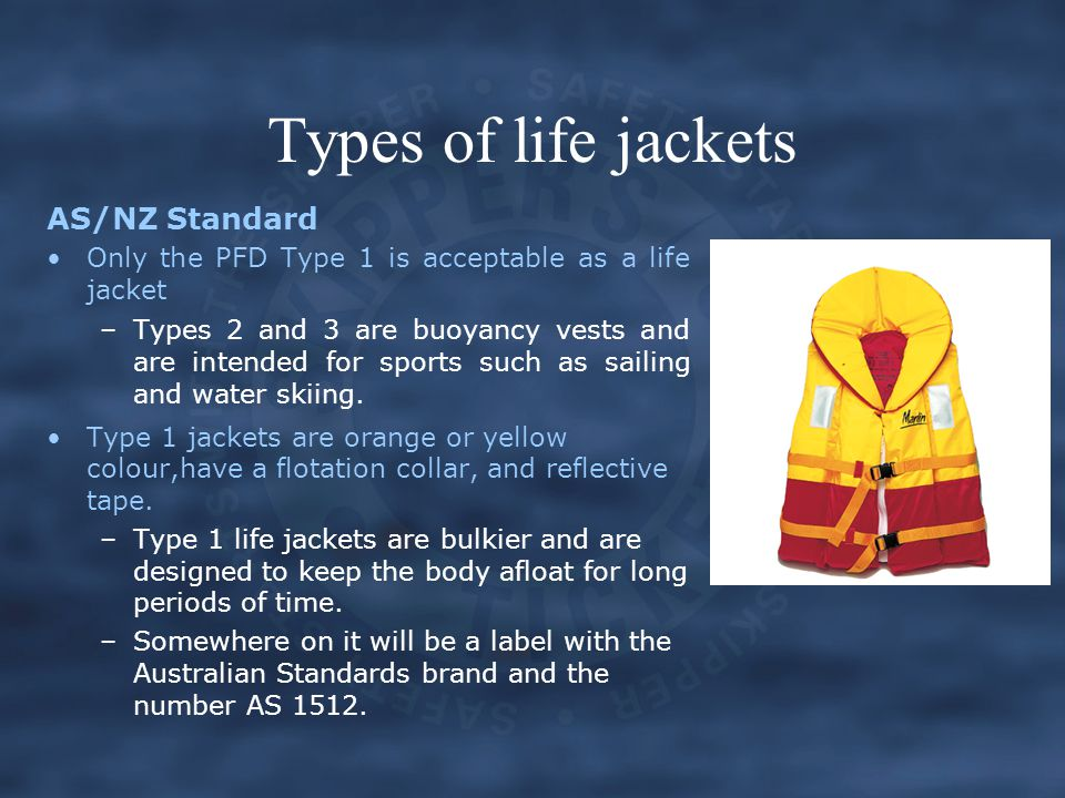 Types of life jackets AS/NZ Standard