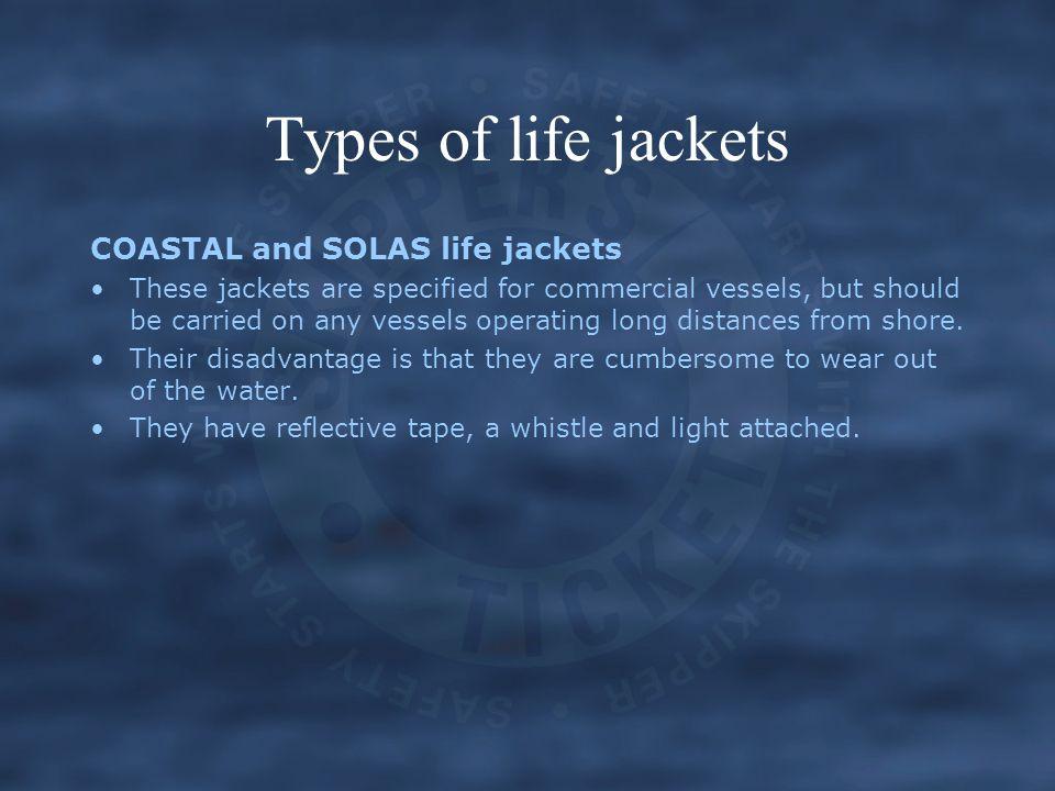 Types of life jackets COASTAL and SOLAS life jackets