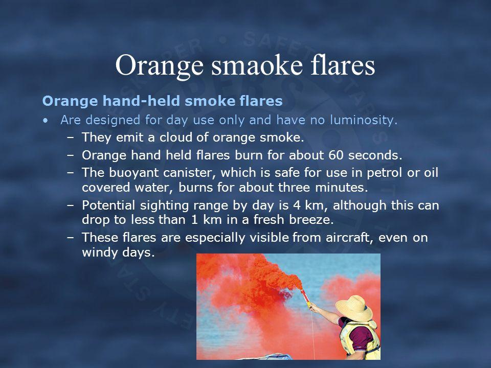 Orange smaoke flares Orange hand-held smoke flares