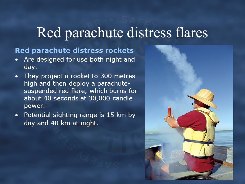 Red parachute distress flares