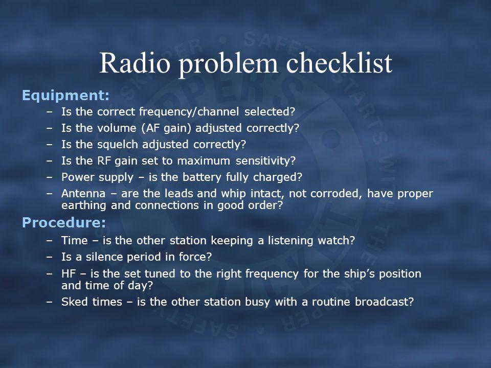 Radio problem checklist