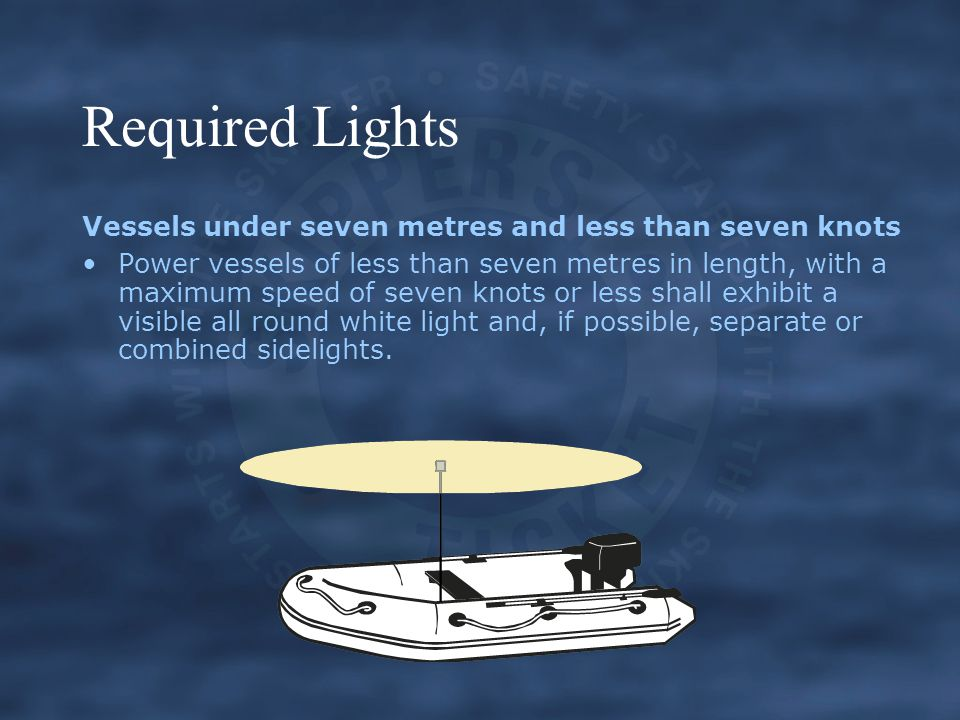 Required Lights Vessels under seven metres and less than seven knots