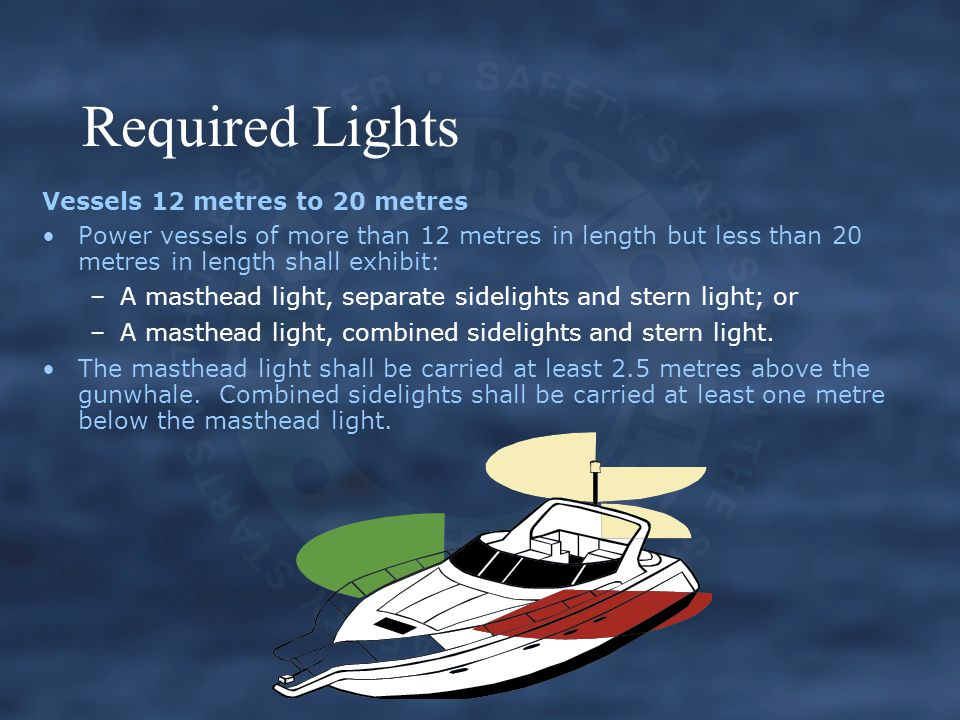 Required Lights Vessels 12 metres to 20 metres