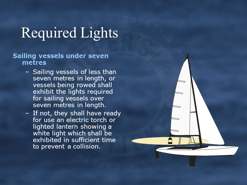 Required Lights Sailing vessels under seven metres