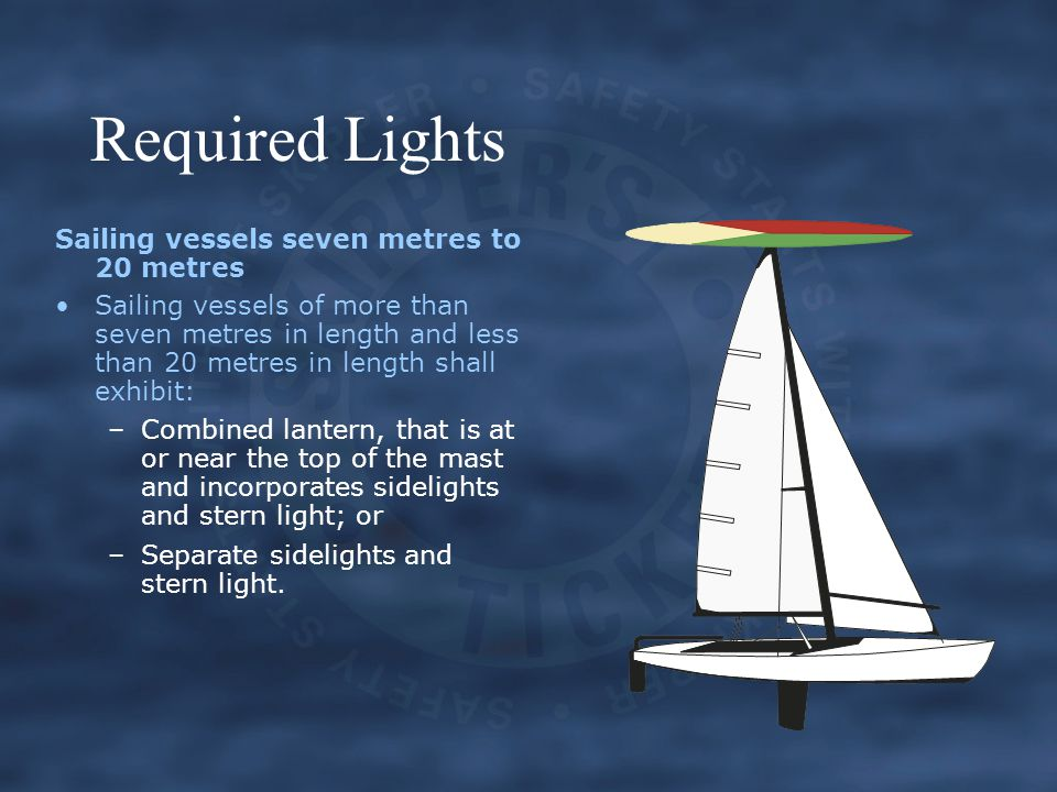 Required Lights Sailing vessels seven metres to 20 metres