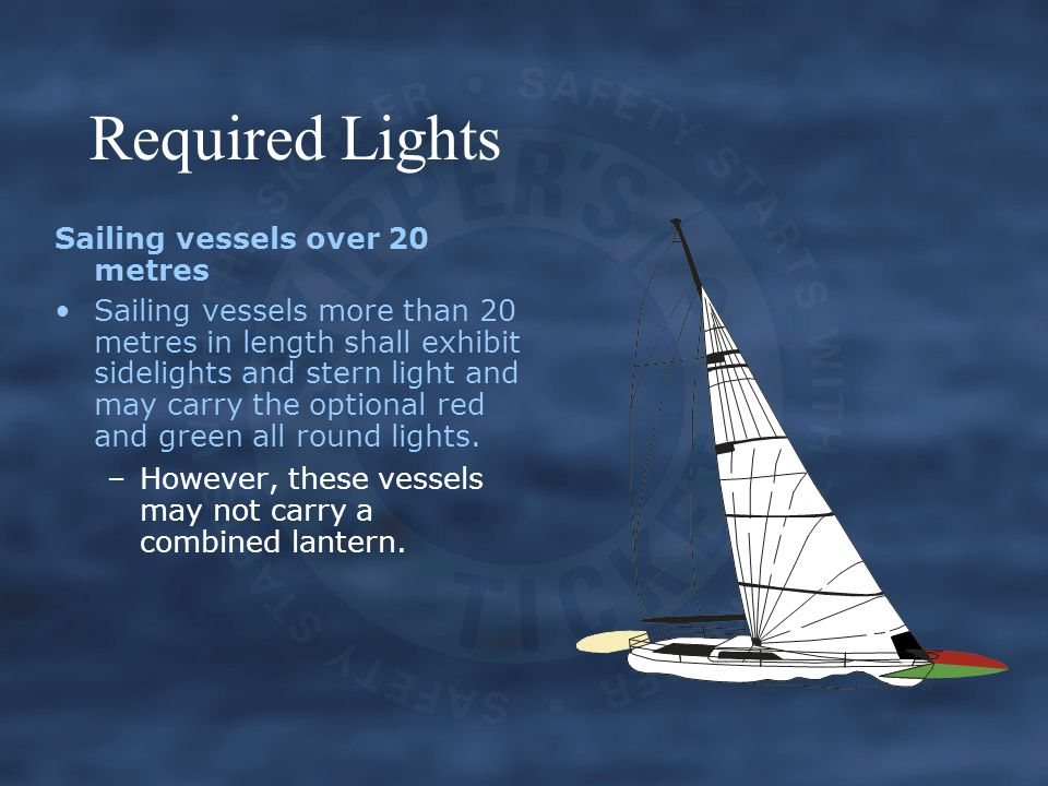 Required Lights Sailing vessels over 20 metres