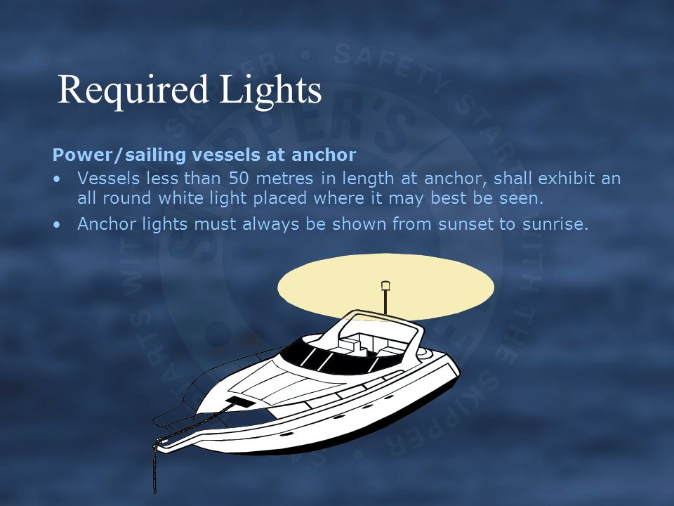 Required Lights Power/sailing vessels at anchor