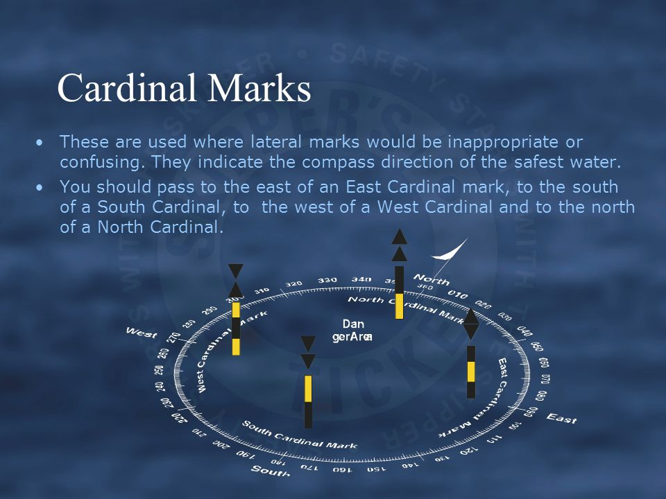 Cardinal Marks These are used where lateral marks would be inappropriate or confusing. They indicate the compass direction of the safest water.