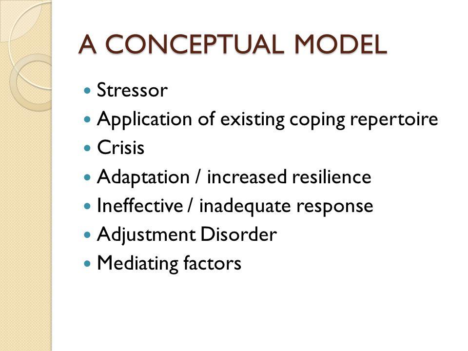 A CONCEPTUAL MODEL Stressor Application of existing coping repertoire