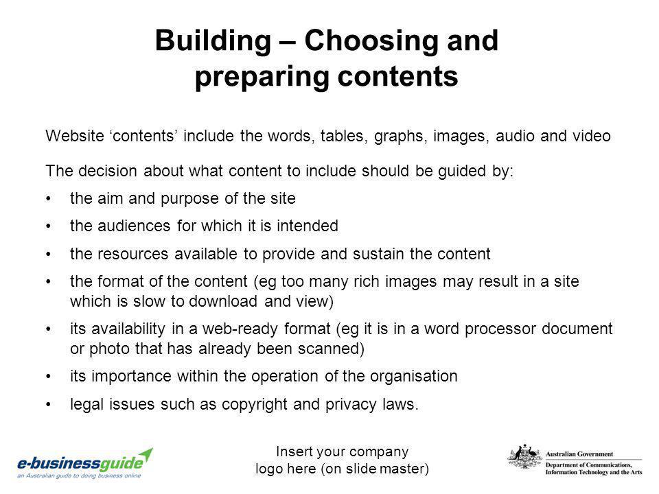 Building – Choosing and preparing contents