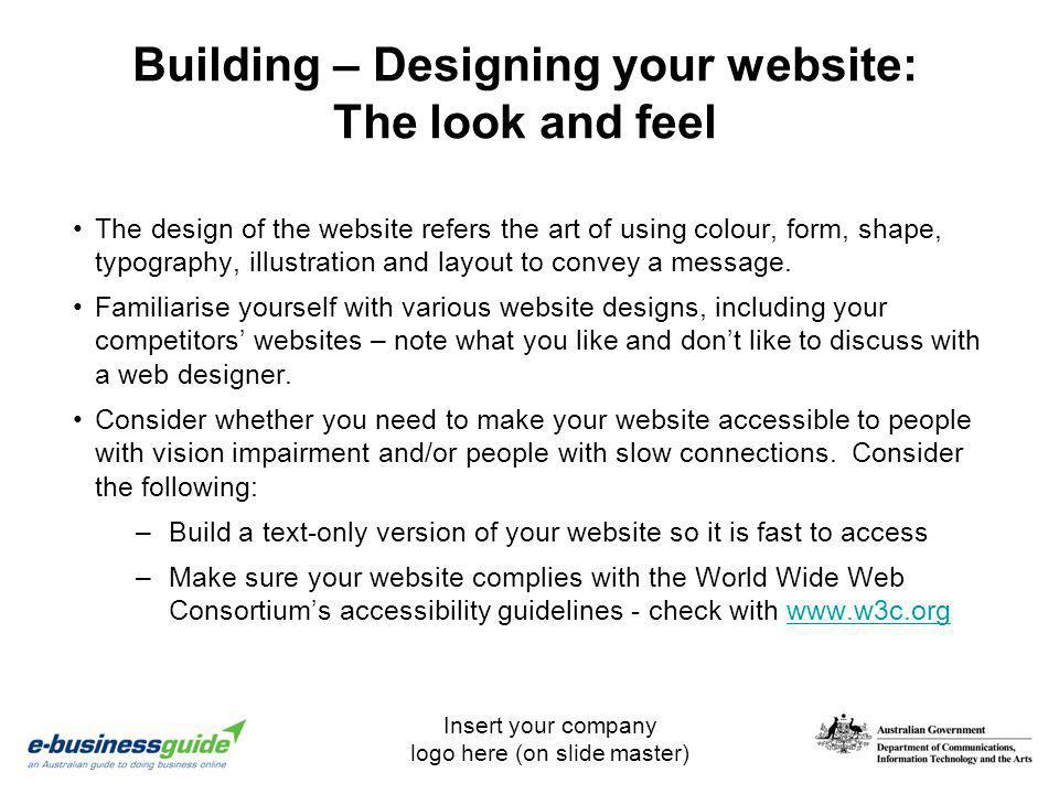 Building – Designing your website: The look and feel