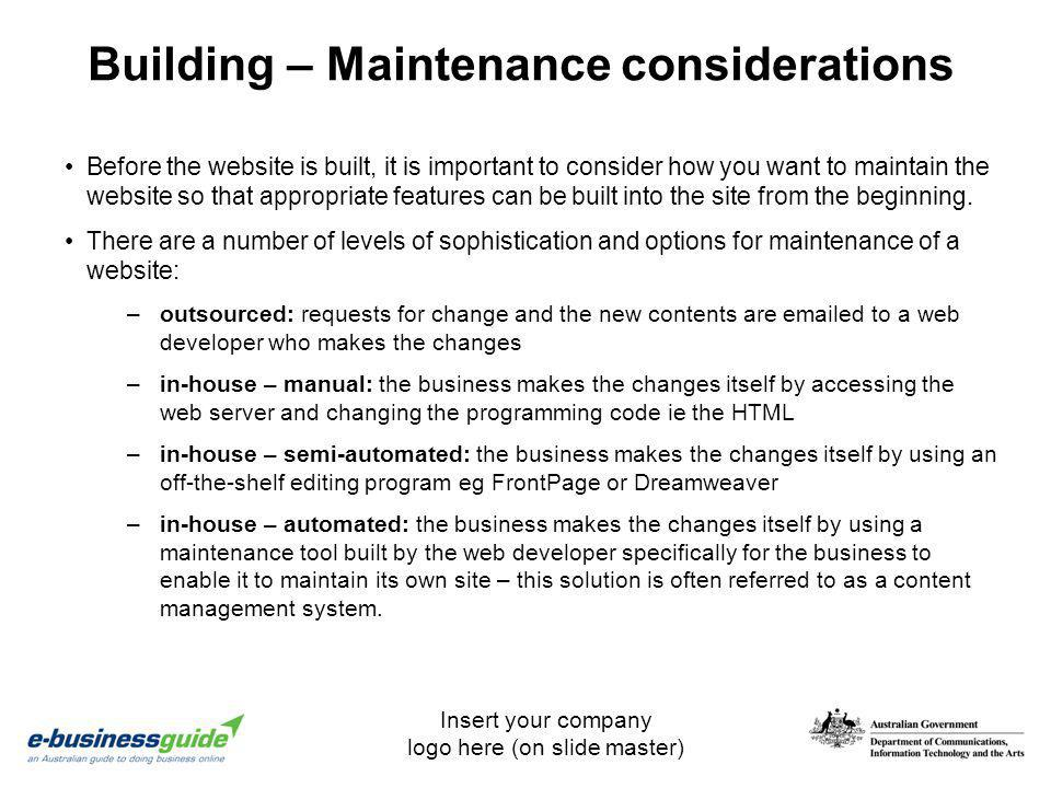 Building – Maintenance considerations