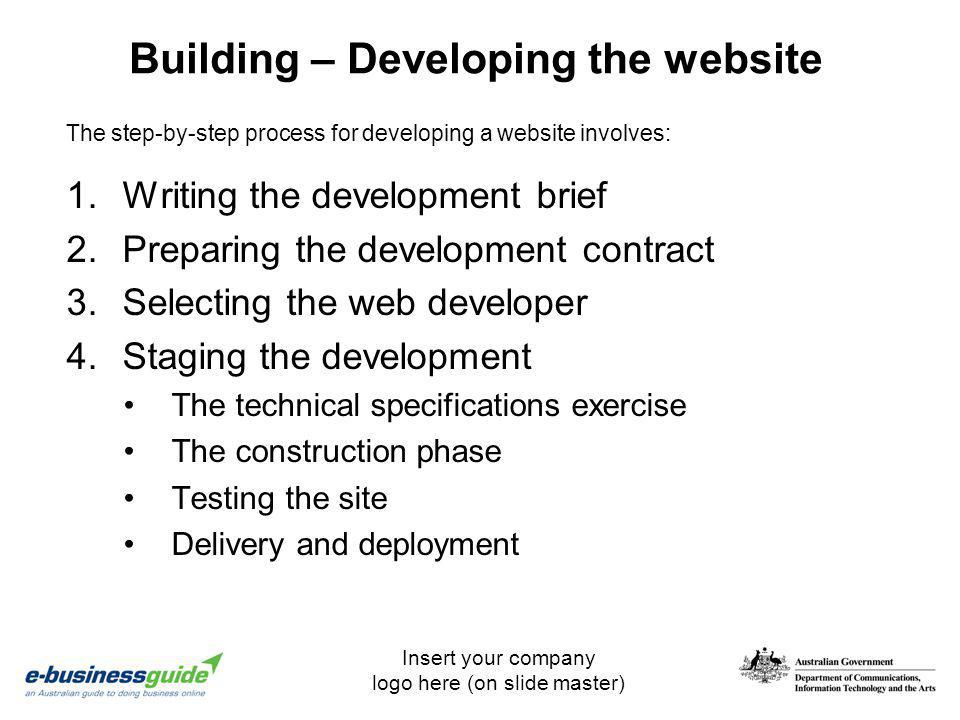 Building – Developing the website