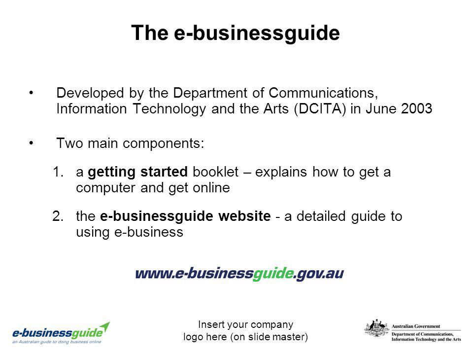 The e-businessguide Developed by the Department of Communications, Information Technology and the Arts (DCITA) in June 2003.