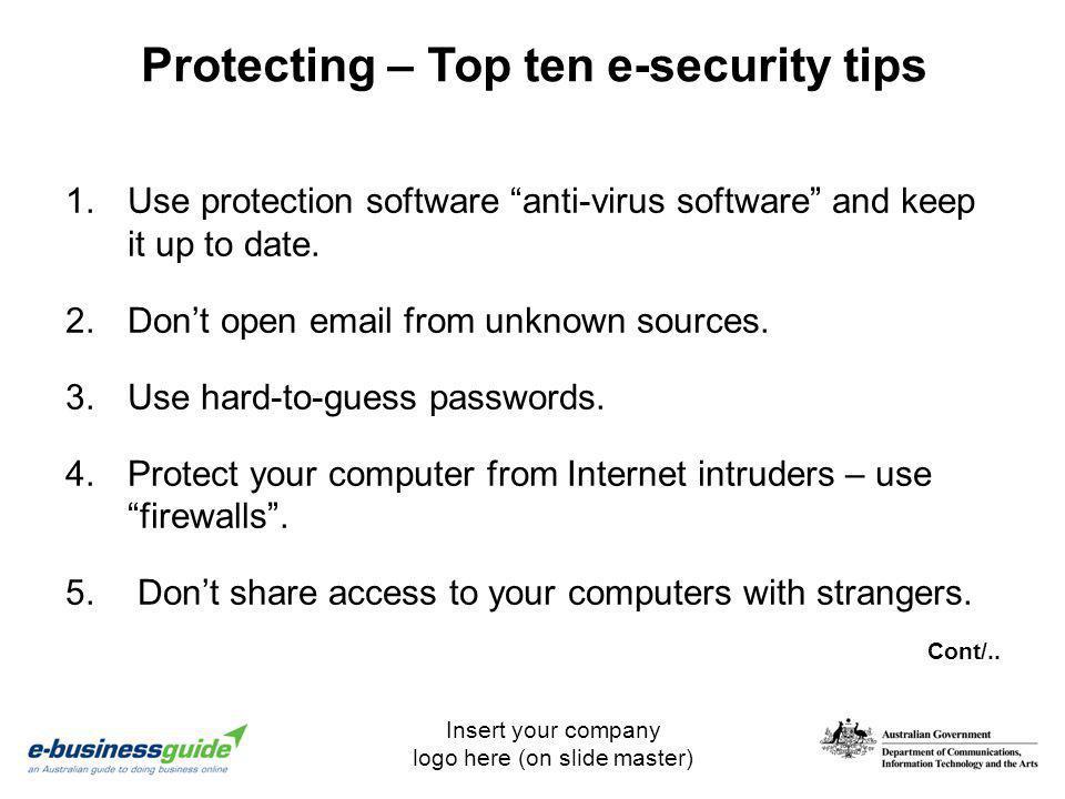 Protecting – Top ten e-security tips