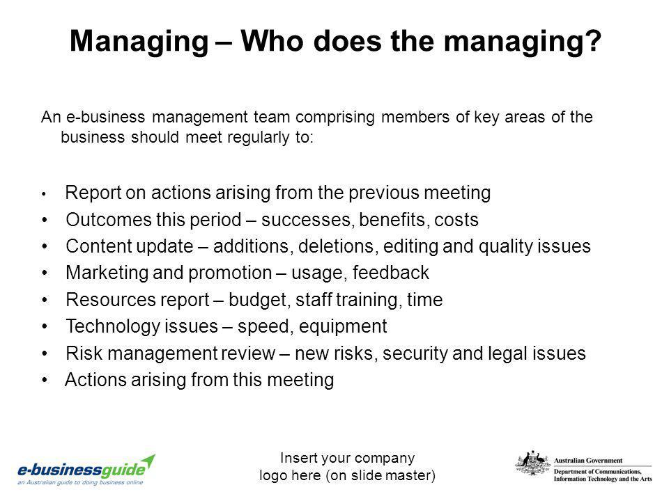 Managing – Who does the managing