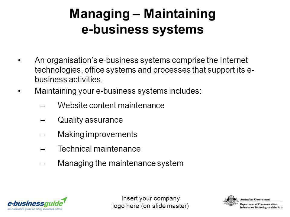 Managing – Maintaining e-business systems