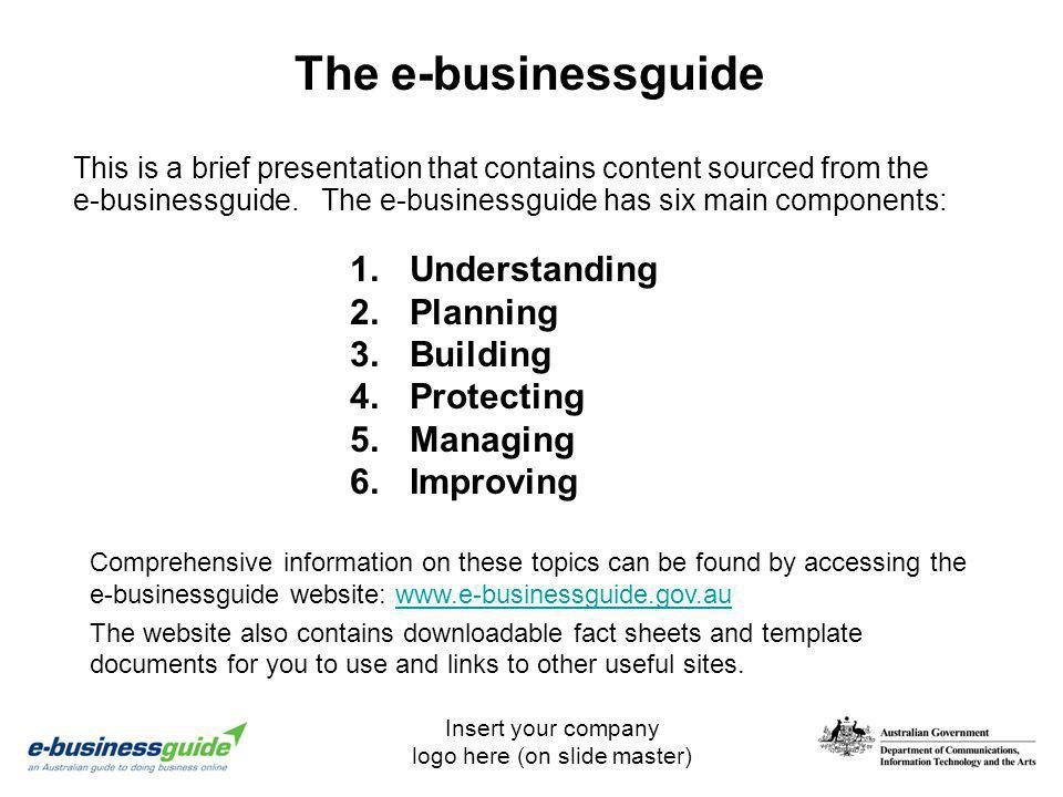 The e-businessguide Understanding Planning Building Protecting