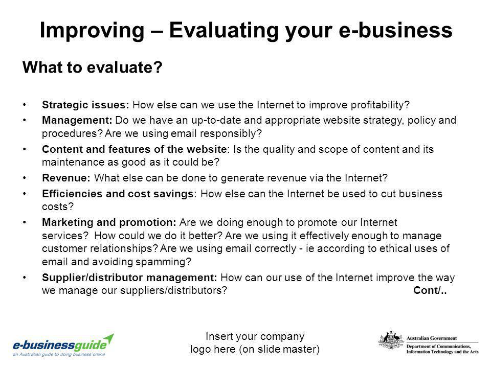 Improving – Evaluating your e-business