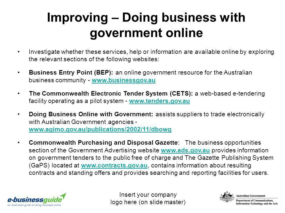 Improving – Doing business with government online