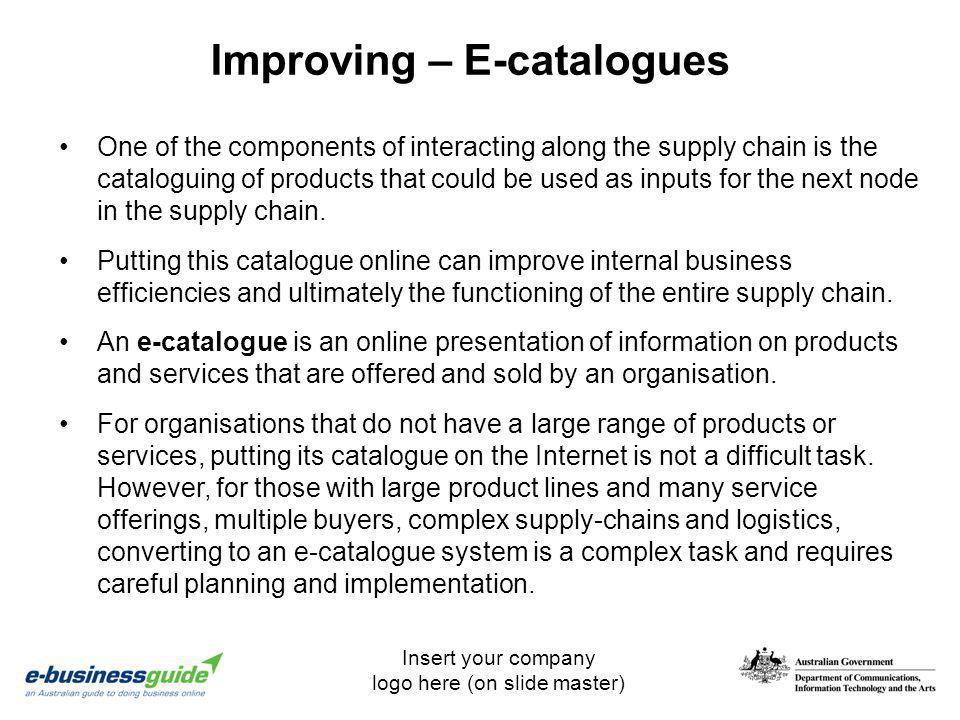 Improving – E-catalogues