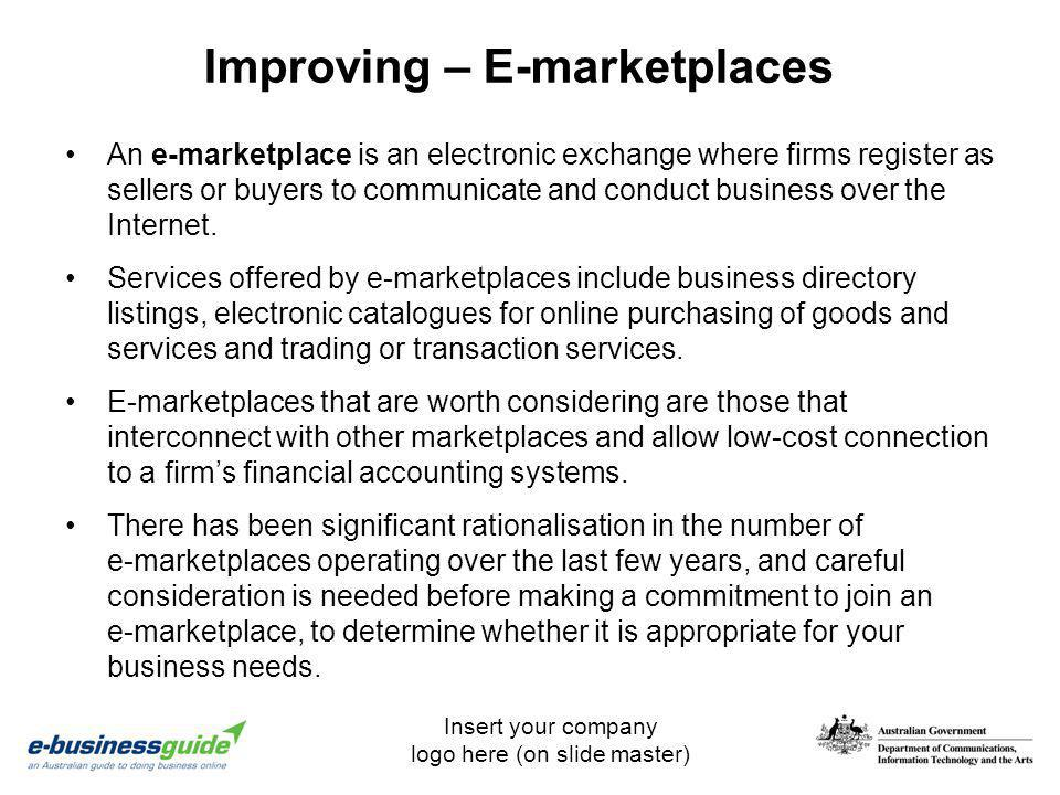 Improving – E-marketplaces