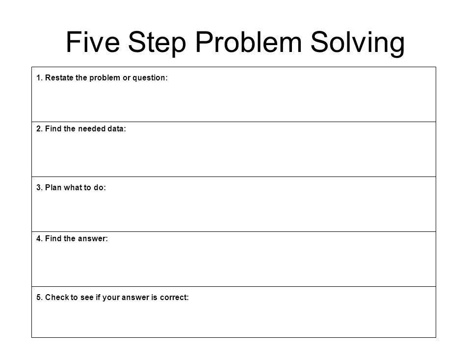 Five Step Problem Solving