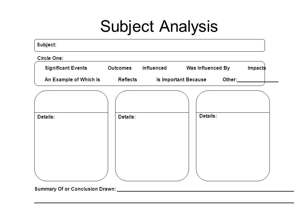 Subject Analysis Subject: Circle One: