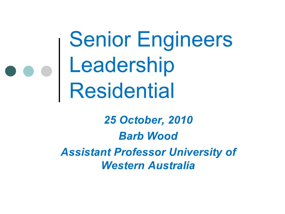 Senior Engineers Leadership Residential