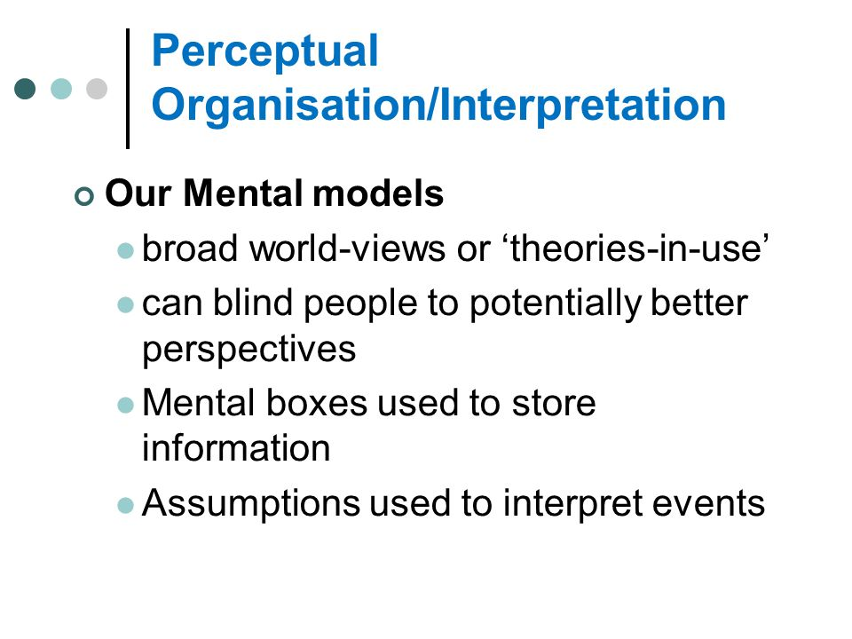 Perceptual Organisation/Interpretation