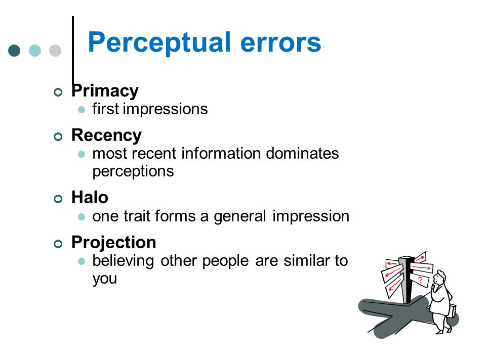 Perceptual errors Primacy Recency Halo Projection first impressions