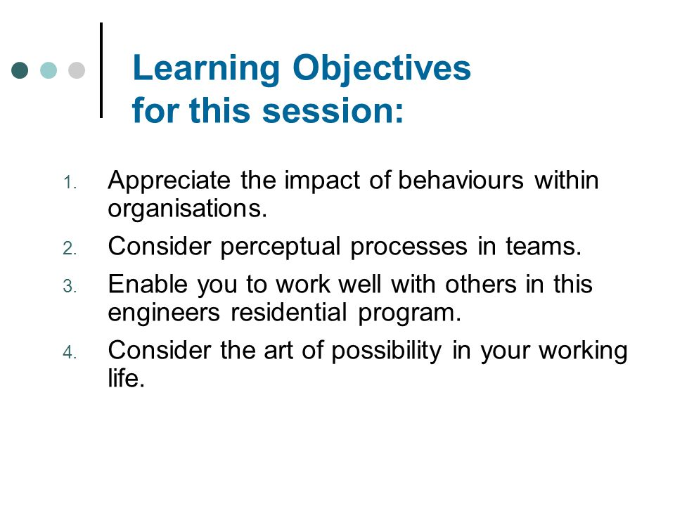 Learning Objectives for this session: