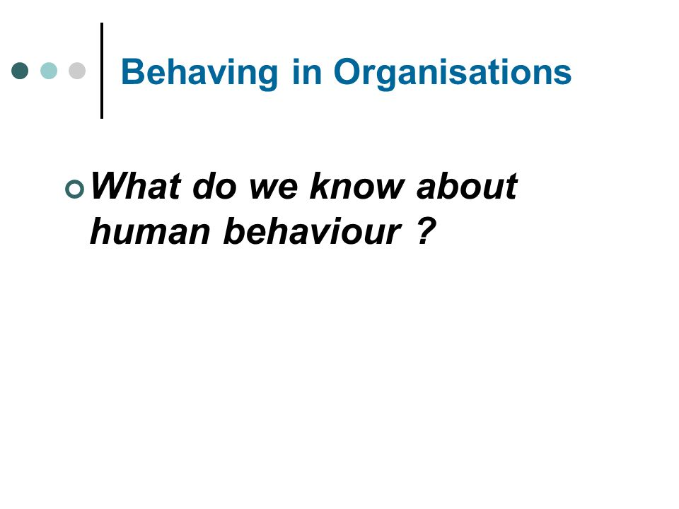 Behaving in Organisations