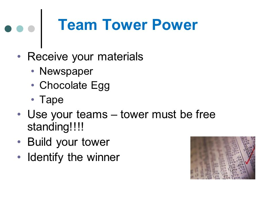 Team Tower Power Receive your materials