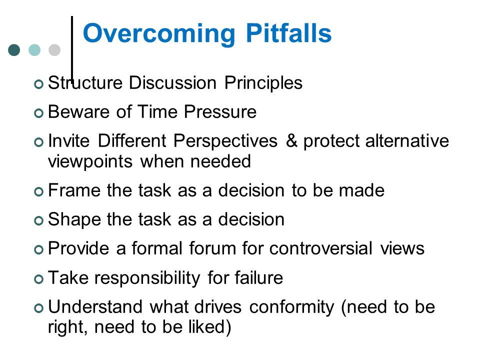 Overcoming Pitfalls Structure Discussion Principles
