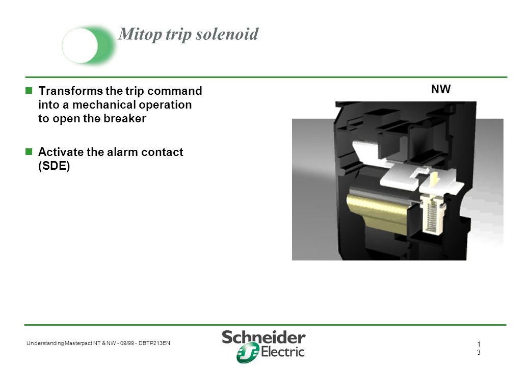 Mitop trip solenoid Transforms the trip command into a mechanical operation to open the breaker. Activate the alarm contact (SDE)
