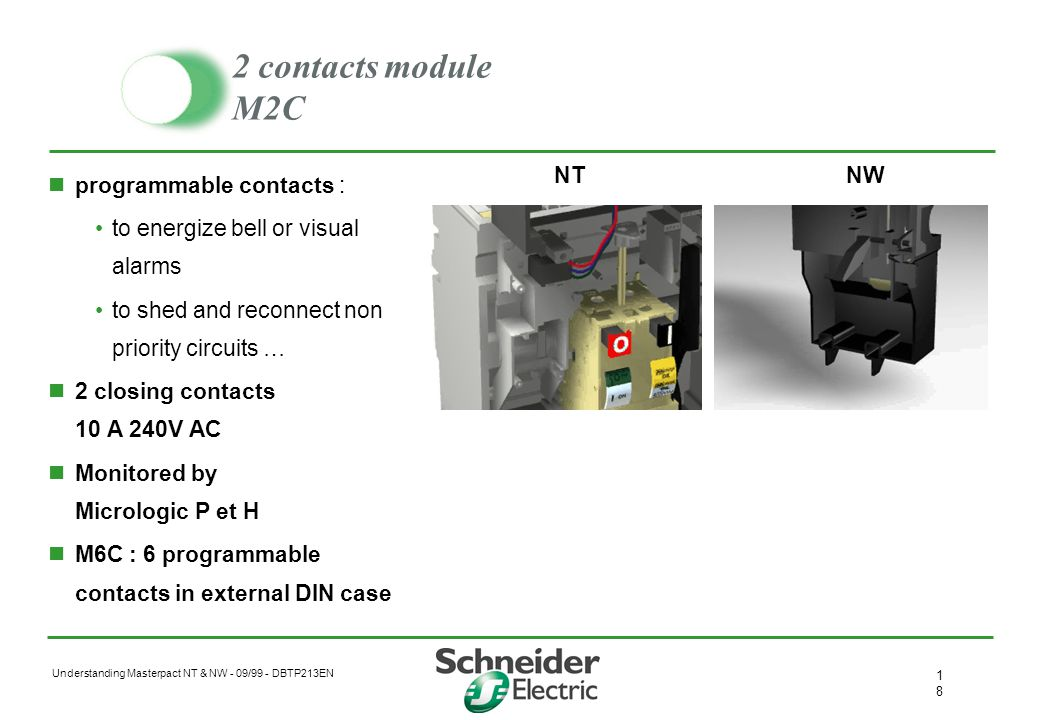2 contacts module M2C programmable contacts :